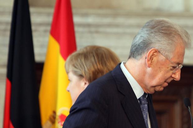angela-merkel eurokrise mario-monti eu-rettungsschirm